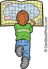 Chico leyendo mapa