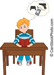 Chico leyendo un libro y pensando en juegos en la mesa