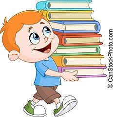 Chico llevando libros