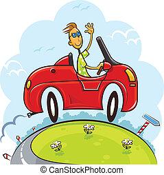 Chico manejando auto