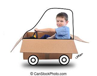 Chico manejando un auto en blanco