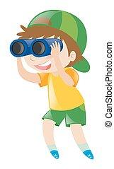 Chico mirando a través de binoculares