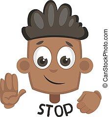 Chico mostrando signo de stop, ilustración, vector de fondo blanco.