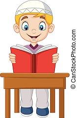 Chico musulmán de dibujos animados leyendo un libro