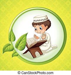 Chico musulmán rezando solo