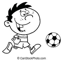 chico que corre, pelota, después