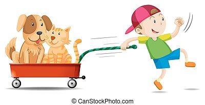 Chico tirando de una carreta con perro y gato en ella