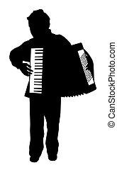 Chico tocando el acordeón