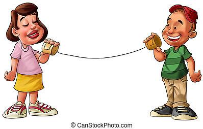 Chico y chica hablando en una lata
