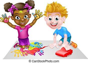 Chico y chica jugando con coche y pinturas