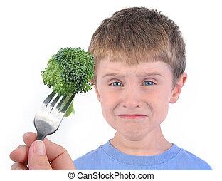 Chico y saludable dieta de brócoli en blanco