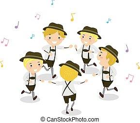 Chicos de Stickman Schuhplattler dance