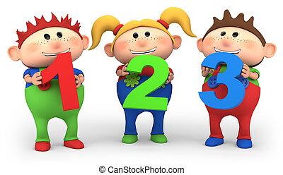 Chicos escolares con 123 números