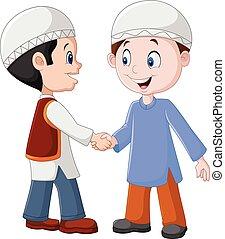 Chicos musulmanes de dibujos animados estrechando la mano