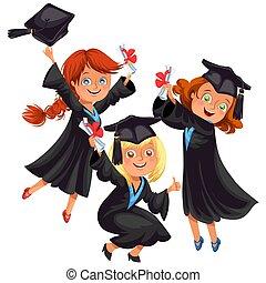 Chicos y chicas felices en la fiesta de graduación