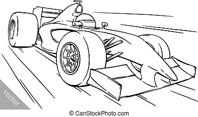 Child ⁇  #39;s divertido fórmula fórmula de fórmula de caricatura ilustración del arte del vector de carreras de coches
