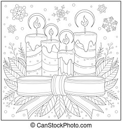 children., adultos, blanco, hermoso, copo de nieve, contorno, estilo, educación, drawing., página, ribbon., nieve, ilustración, colorido, aprendizaje, velas, negro