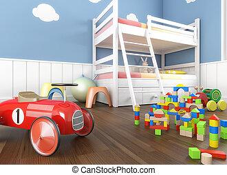 children´s, habitación, cierre, juguetes, arriba