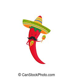Chile chile gracioso en un sombrero con maracas. Un póster festivo