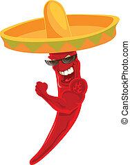 Chile mexicano fuerte en sombrero