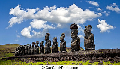 chile, pacífico, pascua, océano, isla, moai