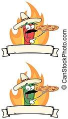 Chile Pepper sostiene la pancarta de pizza
