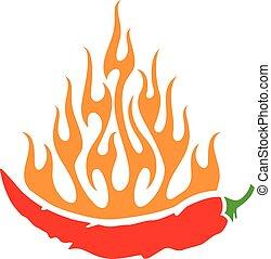 Chile picante con llamas