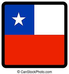 chile, sitio, botón, patriotismo, conmutación, comunicación, contorno, medios, forma, cuadrado, bandera, idioma, social, contrastar, señal, icon.