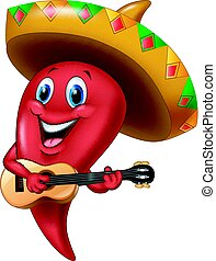 Chili Pepper mariachi usando sombrero tocando una guitarra