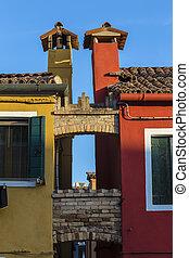 Chimneys de dos casas adyacentes