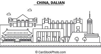 China, la línea de arquitectura de Guilin ilustración en el horizonte. Vector lineal Cityscape con puntos de referencia famosos, vistas de la ciudad, iconos de diseño. Landscape wtih derrames editables