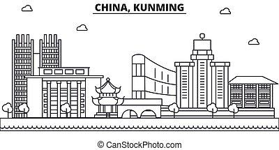 China, la línea de arquitectura de Kunming ilustración en el horizonte. Vector lineal Cityscape con puntos de referencia famosos, vistas de la ciudad, iconos de diseño. Landscape wtih derrames editables