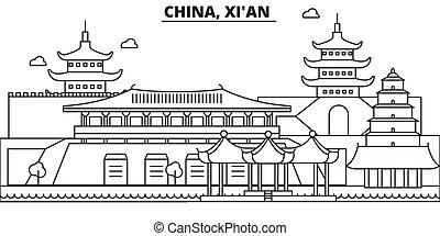 China, la línea de arquitectura Xian ilustración en el horizonte. Vector lineal Cityscape con puntos de referencia famosos, vistas de la ciudad, iconos de diseño. Edición de golpes