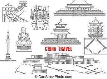 China marca puntos de referencia delgada línea iconos