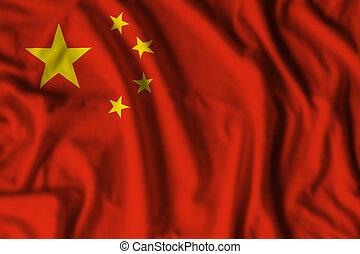 china, wavin, república, bandera, realista