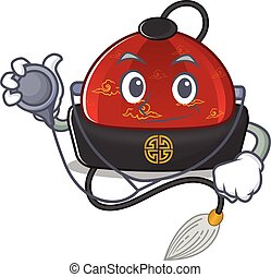 chino, estilo, herramientas, disfraz, doctor, caricatura, mascota, sombrero, tradicional