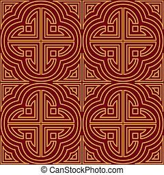 chino, ornament., geométrico, asia, decorativo, rojo, fondo, print., fondo., repetición, patrón, tribal, estilo, ornamental, seamless, étnico, texture.