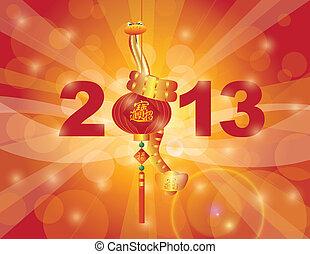 chino, serpiente, año, nuevo, 2013, linterna