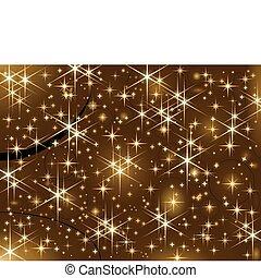 chispa, navidad, dorado, estrellas, brillante