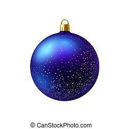 chispea, pelota, azul, navidad, oro, aislado, fondo., blanco