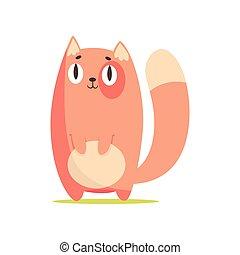 Chistoso gato rojo, lindo dibujo animado vector de personaje animal Illustración