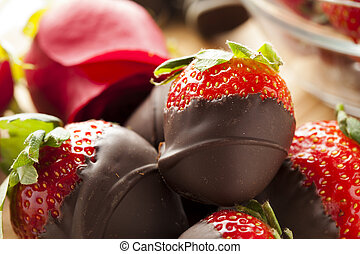 Chocolate de calabaza cubierto de fresas
