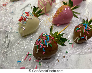 chocolate, valentino, cubierto, día, fresas, gastrónomo
