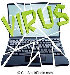 choque, se estropea, pedazos, virus, seguridad computadora, computador portatil
