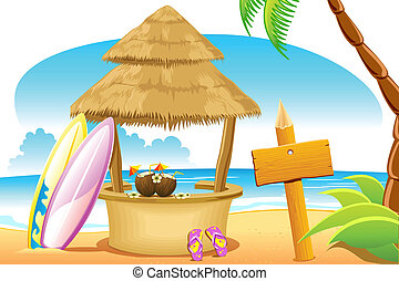 choza, surf, playa, tabla