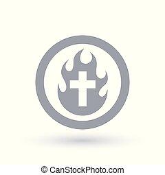 Christian cruza el icono de fuego. La llama del Espíritu Santo y el símbolo del crucifijo.