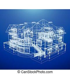 cianotipo, casa, arquitectura