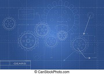 cianotipo, engranaje, ilustración