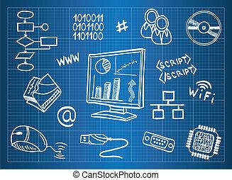 cianotipo, información, hardware, computadora, símbolos, tecnología