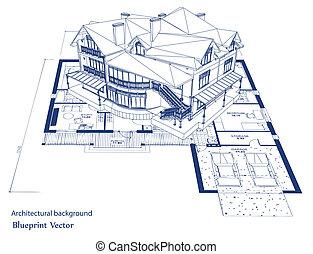 cianotipo, vector, house., arquitectura
